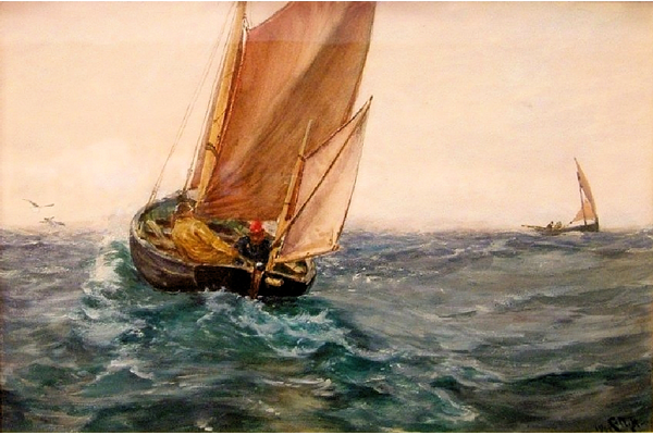 In Spite of Wind and Weather by Charles Napier Hemy (1841-1917) - Watercolour on paper - 1904 - 47 x 69.5 cm  - 1977.866 - © McLean Museum and Art Gallery, Greenock