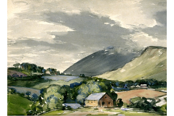 Murton Pike from Brough by Charles John Holmes (1868-1936) - Watercolour on paper - 1932 - 25 x 34.4 cm - 1977.889 - © McLean Museum and Art Gallery, Greenock