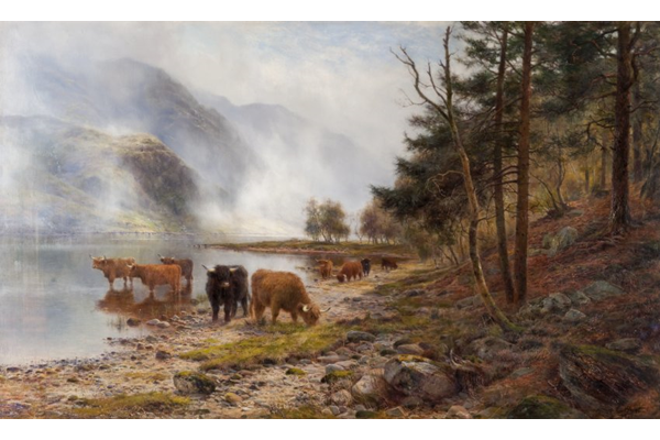 Rising Mists, Loch Eck by Louis Bosworth Hurt (1856-1929) - Oil on canvas - 76.8 x 127.8 cm  - 1977.903 - © McLean Museum and Art Gallery, Greenock