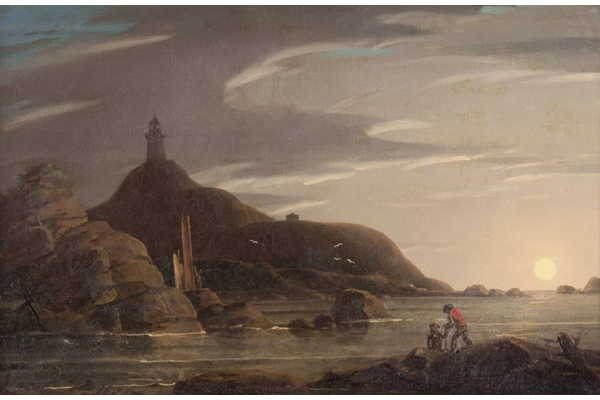 A Coastal Scene by Robert Salmon (c 1775-c 1851) - Oil on panel - 1827 - 29.5 x 44.5 cm - 1993.18 - © McLean Museum and Art Gallery, Greenock