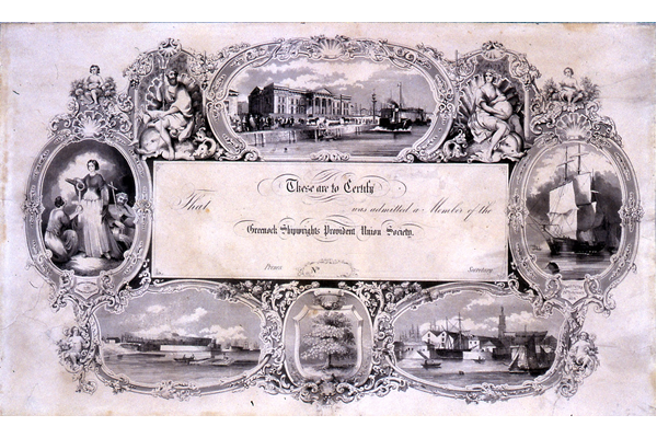 A blank membership certificate for Greenock Shipwrights' Provident Union Society, dated 1825. - 1978.218 - © McLean Museum and Art Gallery, Greenock