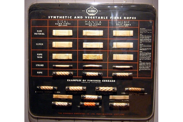 Display panel containing samples of the various synthetic and vegetable fibre products made by the Gourock Ropework Co. Ltd., Port Glasgow - 2006.372 - © McLean Museum and Art Gallery, Greenock