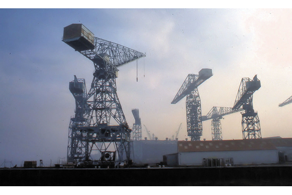 Cranes at Cartburn Shipyard 1987 - Colour transparency by George A. Woods - 2005.8.35 - © McLean Museum and Art Gallery, Greenock
