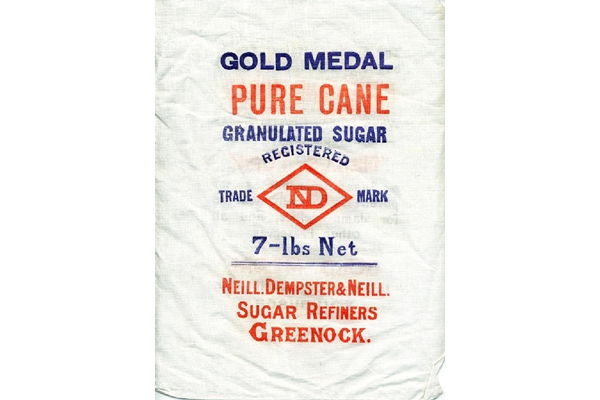 Textile sugar sack from the refinery of Neill, Dempster & Neill of Greenock Ltd. - 2006.235 - © McLean Museum and Art Gallery, Greenock