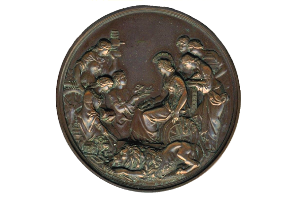 Copper trade exhibition medal designed by James Wyon (1804-1868) and awarded at the General Exhibition London in 1862 to Messrs. Anderson and Orr for the 'highest condition of refined sugar.' - 1978.645 - © McLean Museum and Art Gallery, Greenock