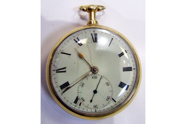 Nineteenth century gold pocket watch originally owned by Ninian Hill M.D. (1794-1869) of Greenock. The watch has a gold outer casing and a hinged watch glass. - 2001.291 - © McLean Museum and Art Gallery, Greenock