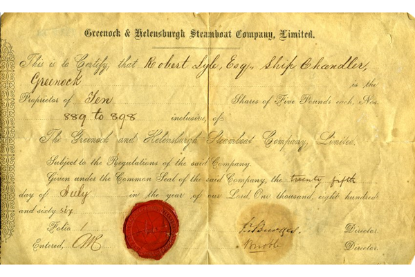 Share certificate for 10 shares in the Greenock and Helensburgh Steamboat Co. Ltd. made out to Robert Lyle Esq., Ship Chandler of Greenock dated 25 July 1866. - 1977.72 - © McLean Museum and Art Gallery, Greenock