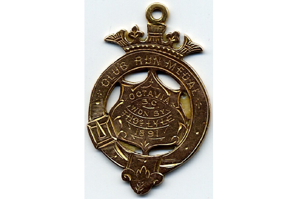 Medal for cycling in hallmarked gold inscribed 'Club Run Medal Octavia BC won by Thomas Lyle 1891' - 2004.5 - © McLean Museum and Art Gallery, Greenock