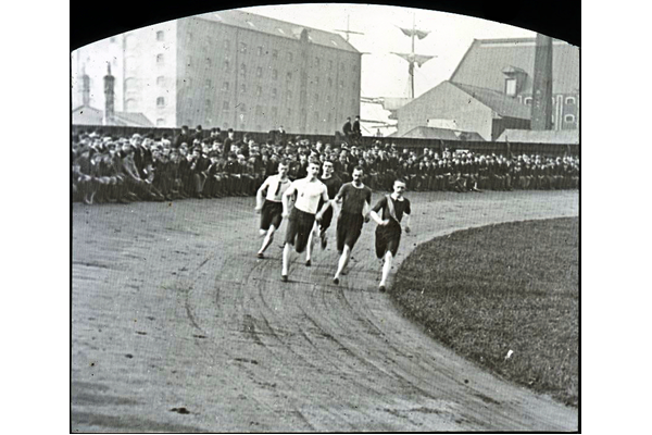 First lap of the half-mile race at at Morton Sports, Cappielow, Greenock 1893 - Lantern slide transparency - P4225 - © McLean Museum and Art Gallery, Greenock