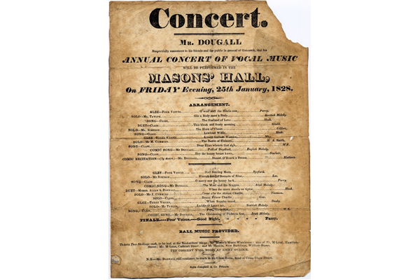 Concert Poster for the Masons' Hall, Greenock on 25 January 1828 - The concert was organised by Neil Dougall (1776-1862), who wrote and taught music in Greenock. - 1997.28 - © McLean Museum and Art Gallery, Greenock