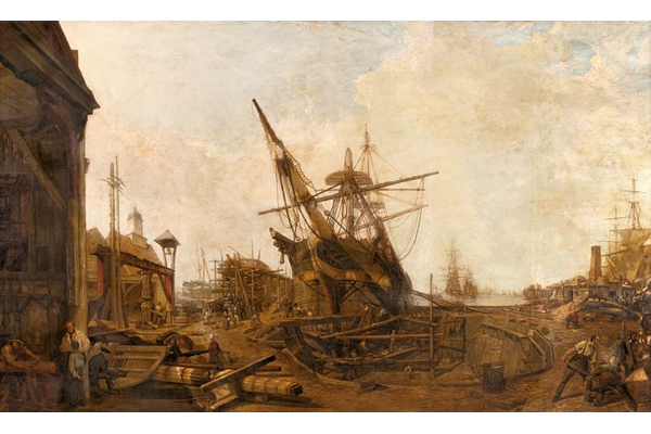 The Antaus under Construction by William Allen Brunning (1818-1850) - Oil on canvas -  156.9 x 259.1 cm  - 1978.208 - © McLean Museum and Art Gallery, Greenock