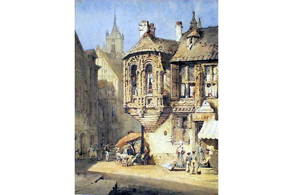 'Street Scene in Normandy' by Samuel Prout (1783-1852) - Watercolour on paper - 45 x 33.4 cm - 1977.1137 - © McLean Museum and Art Gallery, Greenock.