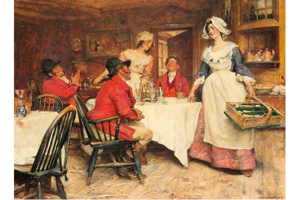 'Scene in an English Inn' by Edgar Bundy (1862-1922) - Oil on canvas - 46 x 59 cm - dated 1907 - 1977.683 - © McLean Museum and Art Gallery, Greenock.