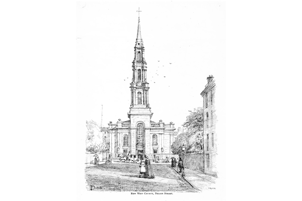 'New West Church, Nelson Street' - lithograph print after Patrick Downie (1854-1945) published c 1888 - 2012.48.40 - ©McLean Museum and Art Gallery, Greenock.