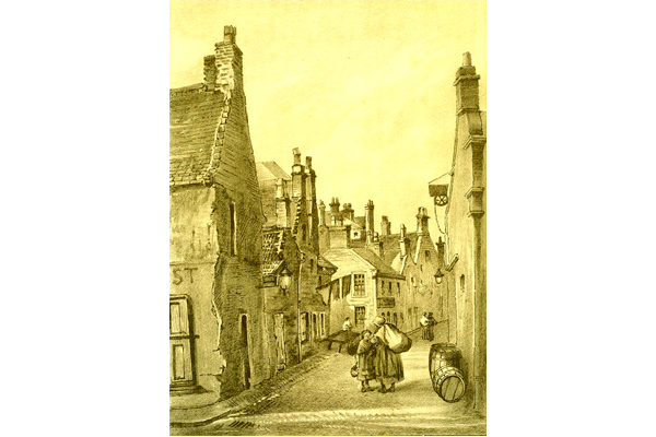 'Lindsay's Lane, Greenock' -  lithograph print after Patrick Downie (1854-1945) published in 1891 - 2012.43 -  ©McLean Museum and Art Gallery, Greenock.
