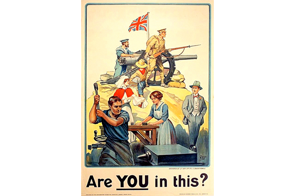 First World War recruitment poster 'Are You in This?', published by the Parliamentary Recruiting Committee in 1915. - 1996.100.41 ©McLean Museum and Art Gallery, Greenock.