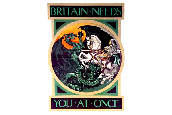 First World recruitment poster 'Britain Needs You at Once', published by the Parliamentary Recruiting Committee in 1915 - 1996.100.15