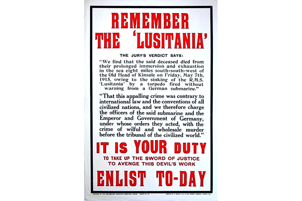 First World War recruitment poster 'Remember the Lusitania!', published by the Parliamentary Recruiting Committee in 1915 - 1996.100.36 ©McLean Museum and Art Gallery, Greenock.
