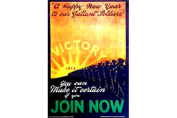 First World War recruitment poster 'A Happy New Year to our Gallant Soldiers', published by the Parliamentary Recruiting Committee in  1915. - 1996.100.176 ©McLean Museum and Art Gallery, Greenock.