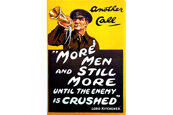 First World War recruitment poster 'More Men and Still More', published by the Parliamentary Recruiting Committee in 1914. - 1996.100.188 ©McLean Museum and Art Gallery, Greenock.