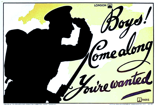 First World War recruitment poster 'Boy's Come Along - You're Wanted', published in 1915. - 1996.100.189 ©McLean Museum and Art Gallery, Greenock.