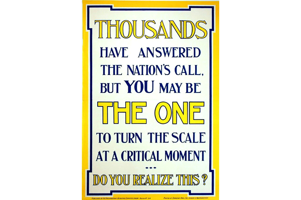First World War recruitment poster 'Thousands have answered the Nation's Call', published by the Parliamentary Recruiting Committee in 1915. - 1996.100.213 ©McLean Museum and Art Gallery, Greenock.