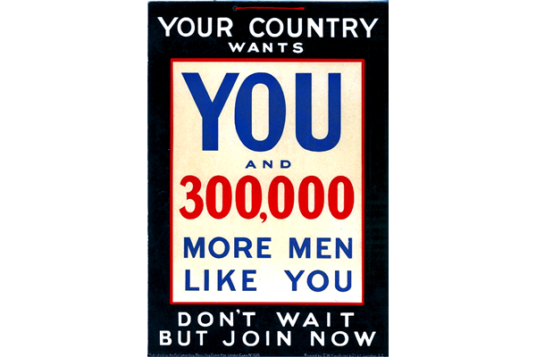 First World War recruitment poster 'Your Country Wants You', published by the Parliamentary Recruiting Committee, London in 1915. - 2012.102.20