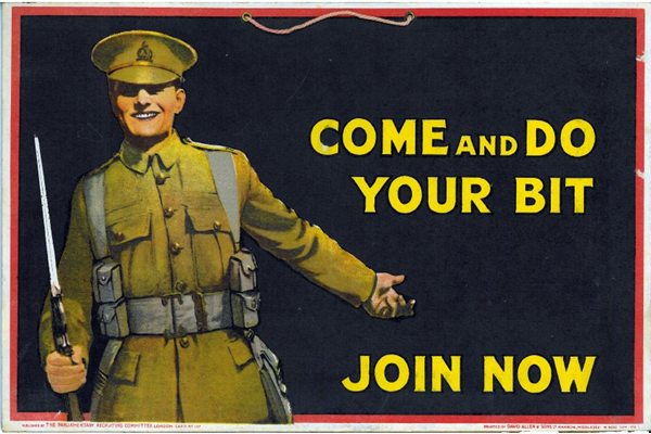 First World War recruitment poster 'Come and Do Your Bit', published by the Parliamentary Recruiting Committee, London in 1915. - 2012.102.23 ©McLean Museum and Art Gallery, Greenock.