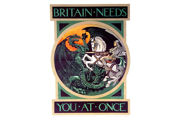 Britain Needs You At Once - Lithograph poster published by the Parliamentary Recruiting Committee in 1915 - 1996.100.15 - Copyright McLean Museum and Art Gallery, Greenock.