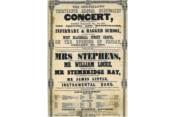 Poster on silk for the 13th Oddfellows benevolent concert held on 27 January 1854 held in West Blackhall Street, Greenock - 1983.70 - © McLean Museum, Greenock.