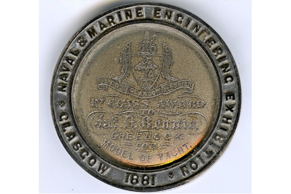 Medal awarded to James Dundas Rennie (1813-1883), a Greenock shipwright in 1881 for a yacht model - 2012.61 - © McLean Museum and Art Gallery, Greenock
