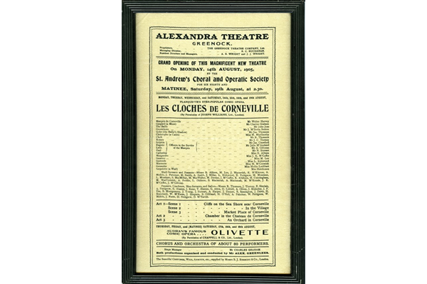 Poster for the opening of the Alexandra Theatre, Greenock on 14 August 1905. - 1977.297 - © McLean Museum and Art Gallery, Greenock.