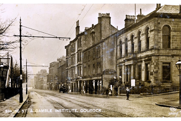 Shore Street and the Gamble Institute, Gourock - Postcard posted on the 2nd December 1915 - WL5019 - © McLean Museum and Art Gallery, Greenock