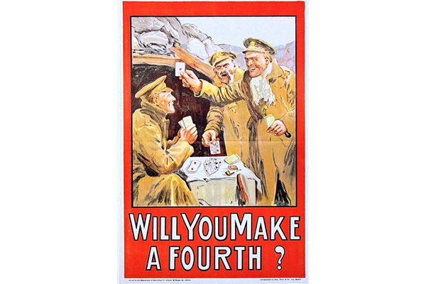 First World War recruitment poster 'Will You Make A Fourth?', published by the Department of Recruiting for Ireland in 1915. - 1996.100.13 ©McLean Museum and Art Gallery, Greenock.