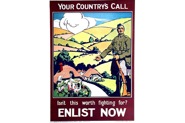First World War recruitment poster 'Your Country's Call', published by the Parliamentary Recruiting Committee in 1915. - 1996.100.172 - ©McLean Museum and Art Gallery, Greenock.