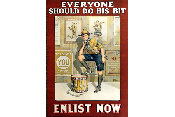 First World War recruitment poster 'Everyone Should Do His Bit', published by the Parliamentary Recruiting Committee in 1915 - 1996.100.174 ©McLean Museum and Art Gallery, Greenock.