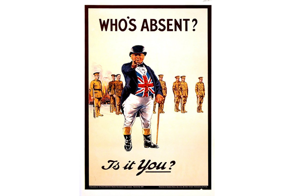 First World War recruitment poster 'Who's Absent?', published by the Parliamentary Recruiting Committee in 1915. - 1996.100.19 ©McLean Museum and Art Gallery, Greenock.