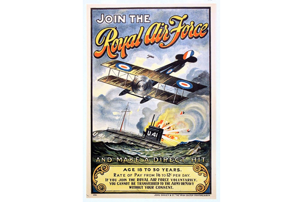 First World War recruitment poster 'Join the Royal Air Force', published by the Royal Air Force in 1918. - 1996.100.18 ©McLean Museum and Art Gallery, Greenock.