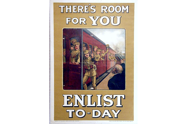 First World War recruitment poster 'There's Room for You', published by the Parliamentary Recruiting Committee in 1915. - 1996.100.175 ©McLean Museum and Art Gallery, Greenock.