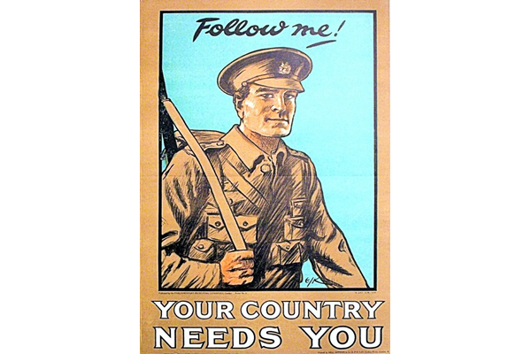 First World War recruitment poster 'Follow Me! Your Country Needs You', published by the Parliamentary Recruiting Committee in 1914. - 1996.100.185 ©McLean Museum and Art Gallery, Greenock.