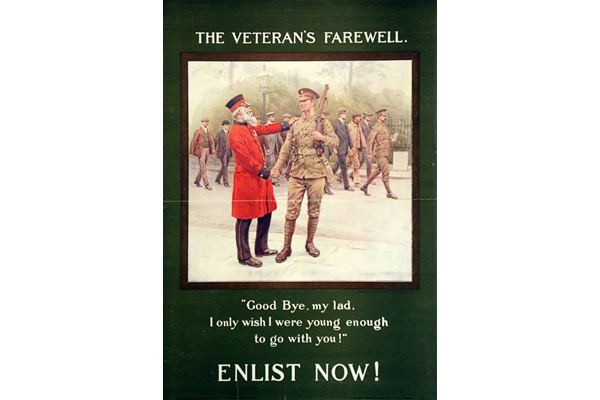First World War recruitment poster 'The Veteran's Farewell', published by the Parliamentary Recruiting Committee in 1914. - 1966.100.192 ©McLean Museum and Art Gallery, Greenock.
