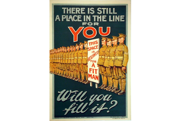 First World War recruitment poster 'There is still a Place in the Line for You', published by the Parliamentary Recruiting Committee in 1915. - 1996.100.193 ©McLean Museum and Art Gallery, Greenock.