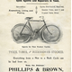 This advertisement for Philips and Brown bikes shows the popularity of cycling during the Edwardian era. Used for work, sport and leisure, the bicycle became the main means to explore the local countryside.  - 1907 - Lithograph on paper - 1997.123 - © McLean Museum and Art Gallery, Greenock.