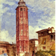 The Leaning Tower of Zaragoza by John Frederick Lewis (1804-1806) - Watercolour on paper - 1832 - 35.9 x 25.9 cm  - 1977.940 - © McLean Museum and Art Gallery, Greenock