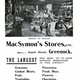 MacSymon's Stores - Advertisement from 1906 - MacSymon's operated a network of grocery shops in the Inverclyde area. - 1997.122 - © McLean Museum and Art Gallery, Greenock