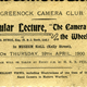 Admission ticket for Greenock Camera Club lecture:  'The Camera and the Wheel' held in the Watt Hall, McLean Museum on Thursday 19th April 1900. - 1995.25 - © McLean Museum and Art Gallery, Greenock