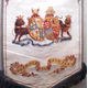 A painted textile banner of the Greenock Cooperative Painters Society, dated 1868. The society was founded in 1857. - 1981.1585 - © McLean Museum and Art Gallery, Greenock