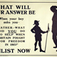 First World War recruitment poster 'What will your answer be?', published by the Parliamentary Recruiting Committee in 1915. - 1996.100.197 ©McLean Museum and Art Gallery, Greenock.