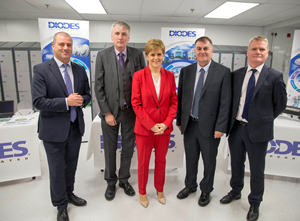 Scottish Enterprise chief executive Steve Dunlop, Diodes European President Tim Monaghan, First Minister Nicola Sturgeon, Inverclyde Council Leader Cllr. Stephen McCabe and Diodes Greenock MD Gerry Mc