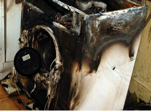 Image of burnt out tumble drier